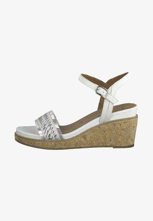 Platform sandals - white silver