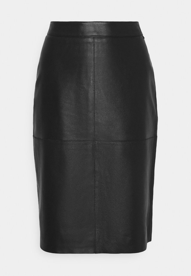 LIZEN  - Leather skirt - black
