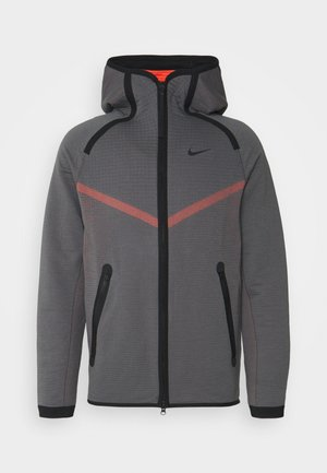 HOODIE  - Zip-up hoodie - dark grey/turf orange/black