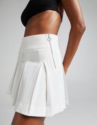 Bershka - Plisovaná sukně - white - 3