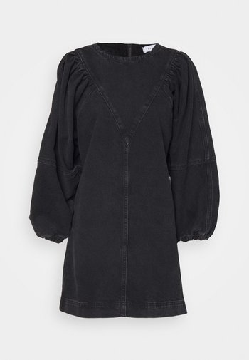 PUFF  DRESS - Denim dress - washed black