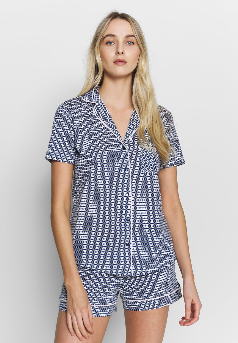 s.Oliver - SHORTY SET - Pyjama - blau/weiß