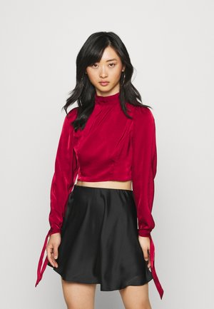 TIE BACK CROPPED BLOUSE - Blusa - wine
