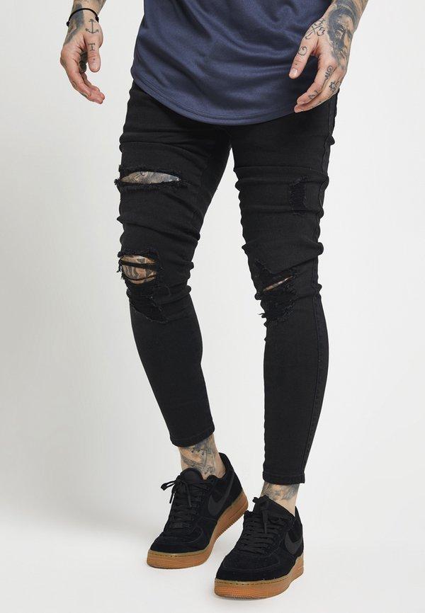 SIKSILK DISTRESSED SUPER - Jeansy Skinny Fit - black/czarny Odzież Męska ALKX