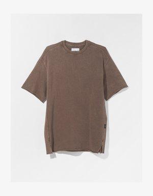 SHORT SLEEVE SWEAT - T-shirt - bas - brown