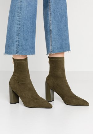 VANESSA - High heeled ankle boots - olive green