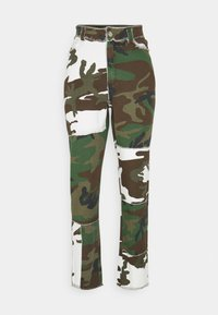 Missguided - CONTRAST CAMO PANEL STRAIGHT LEG TROUSER - Trousers - khaki - 0