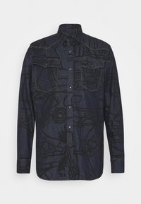 G-Star - 3301 SLIM SHIRT L\S - Shirt - lt wt raser stretch denim o ao - rinsed dubuffet splatter - 0