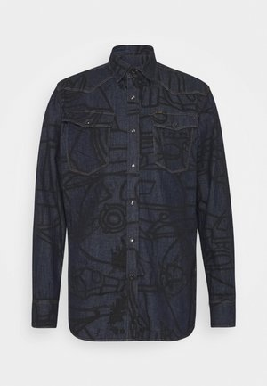 3301 SLIM SHIRT L\S - Košile - lt wt raser stretch denim o ao - rinsed dubuffet splatter