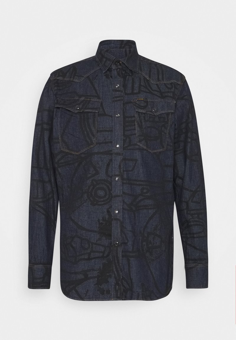 G-Star - 3301 SLIM SHIRT L\S - Shirt - lt wt raser stretch denim o ao - rinsed dubuffet splatter