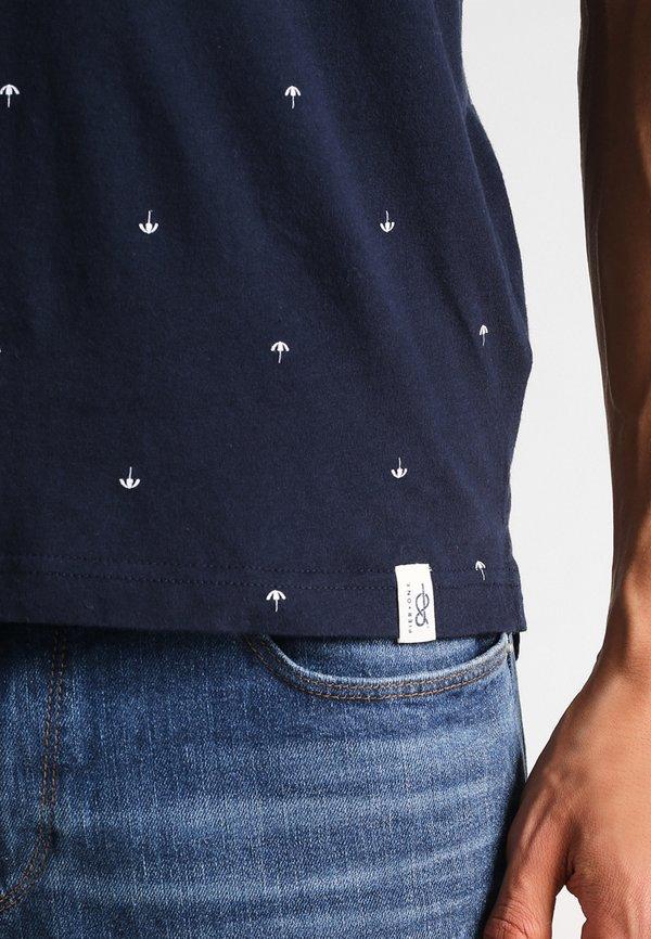 Pier One T-shirt z nadrukiem - navy/granatowy Odzież Męska JBOG