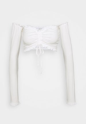 CROPPED DRAWSTRING - Long sleeved top - white