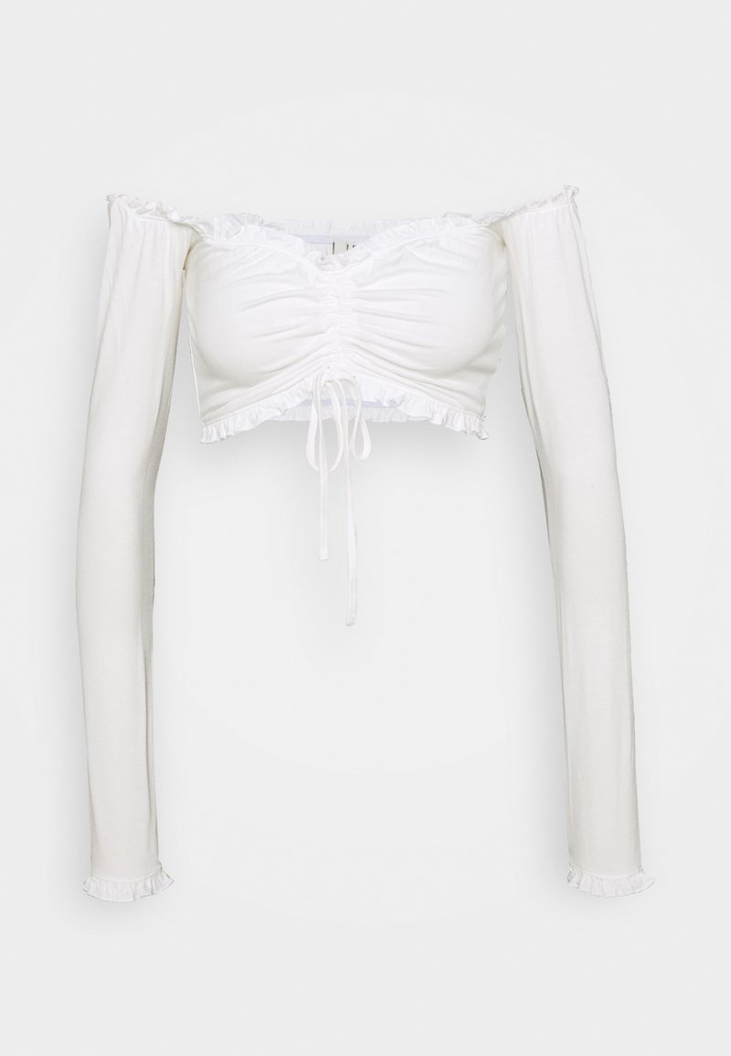 Nly by Nelly - CROPPED DRAWSTRING - Long sleeved top - white