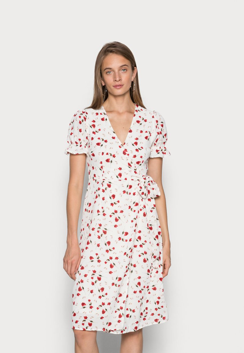 IN THE STYLE - JAC JOSSA FLORAL PRINT WRAP FRONT MIDI DRESS WITH PUFF SLE - Kjole - white