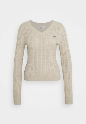 CABLE LAYER ON - Strickpullover - oatmeal