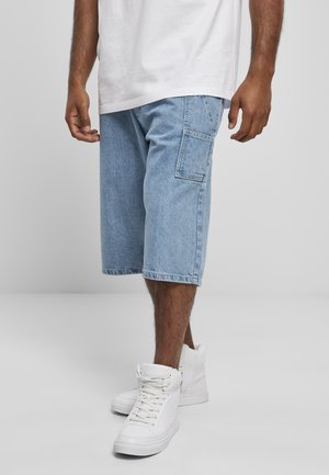 WITH TAPE - Denim shorts - mid blue
