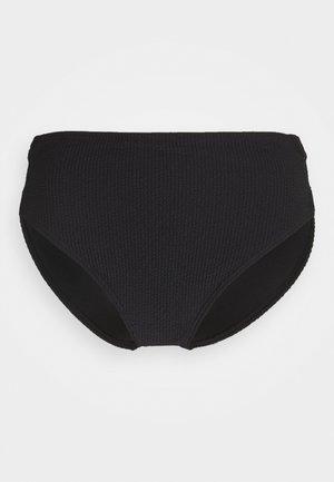SOLID TEXTURE HIGH LEG BOTTOM - Bikini bottoms - black