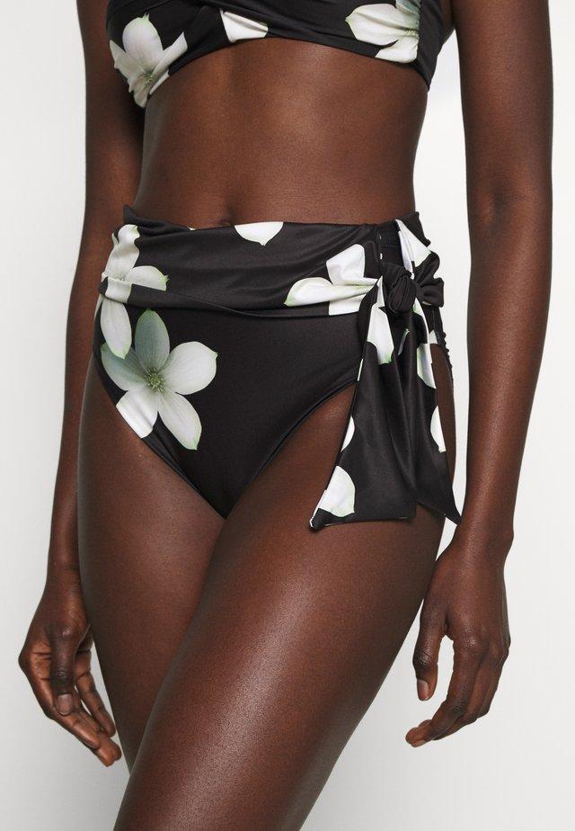 HIGH WAIST TIE PANT - Dół od bikini - black/white