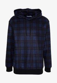 Topman - CHECK BRUSHED HOOD - Hoodie - dark blue - 4