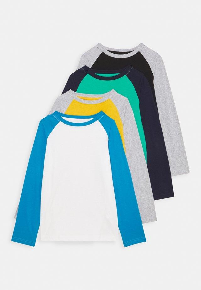 4 PACK - T-shirt print - light grey/ochre/dark blue
