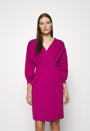 PLEATED WRAP PENCIL DRESS - Day dress - magenta