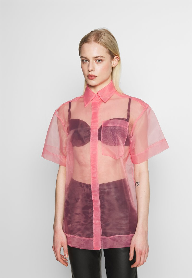 House of Holland - SHEER BOXY - Button-down blouse - pink