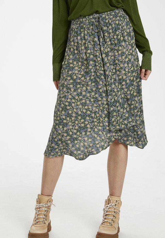SLILIO  - A-line skirt - small flower flint stone