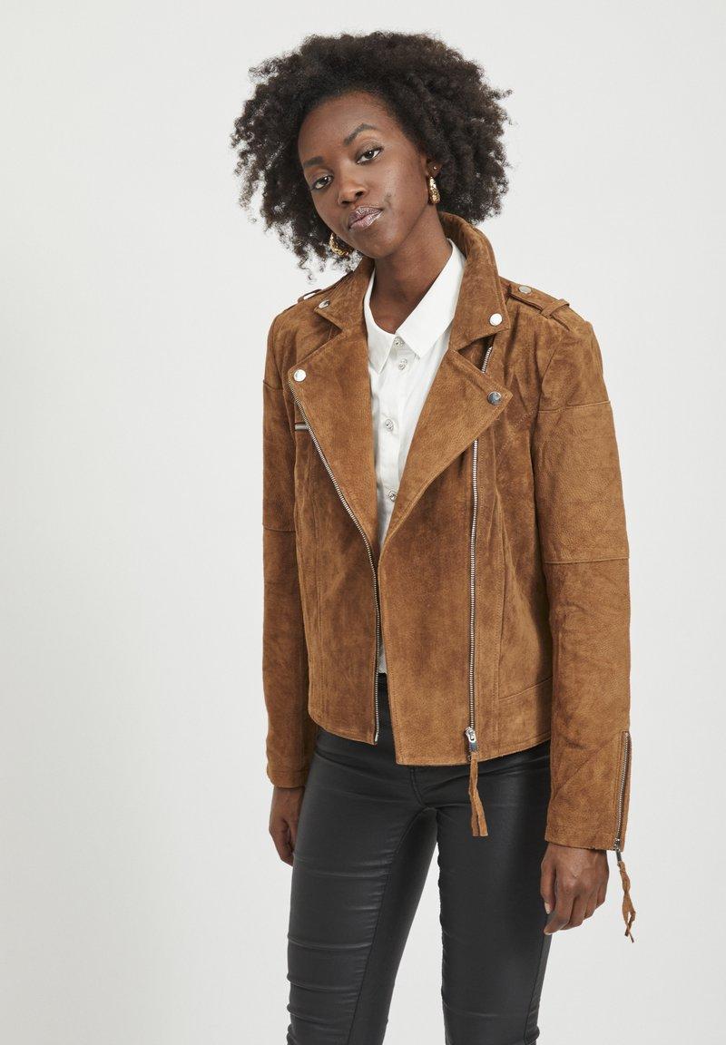 Vila - VICRIS - Leather jacket - brown
