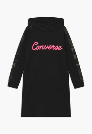 CAMO BLOCKED HOODIE - Jersey dress - black