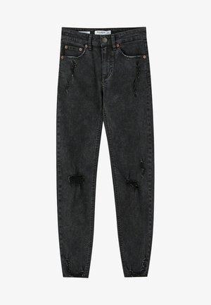 MIT HALBHOHEM BUND UND RISSEN  - Jeans Skinny Fit - black