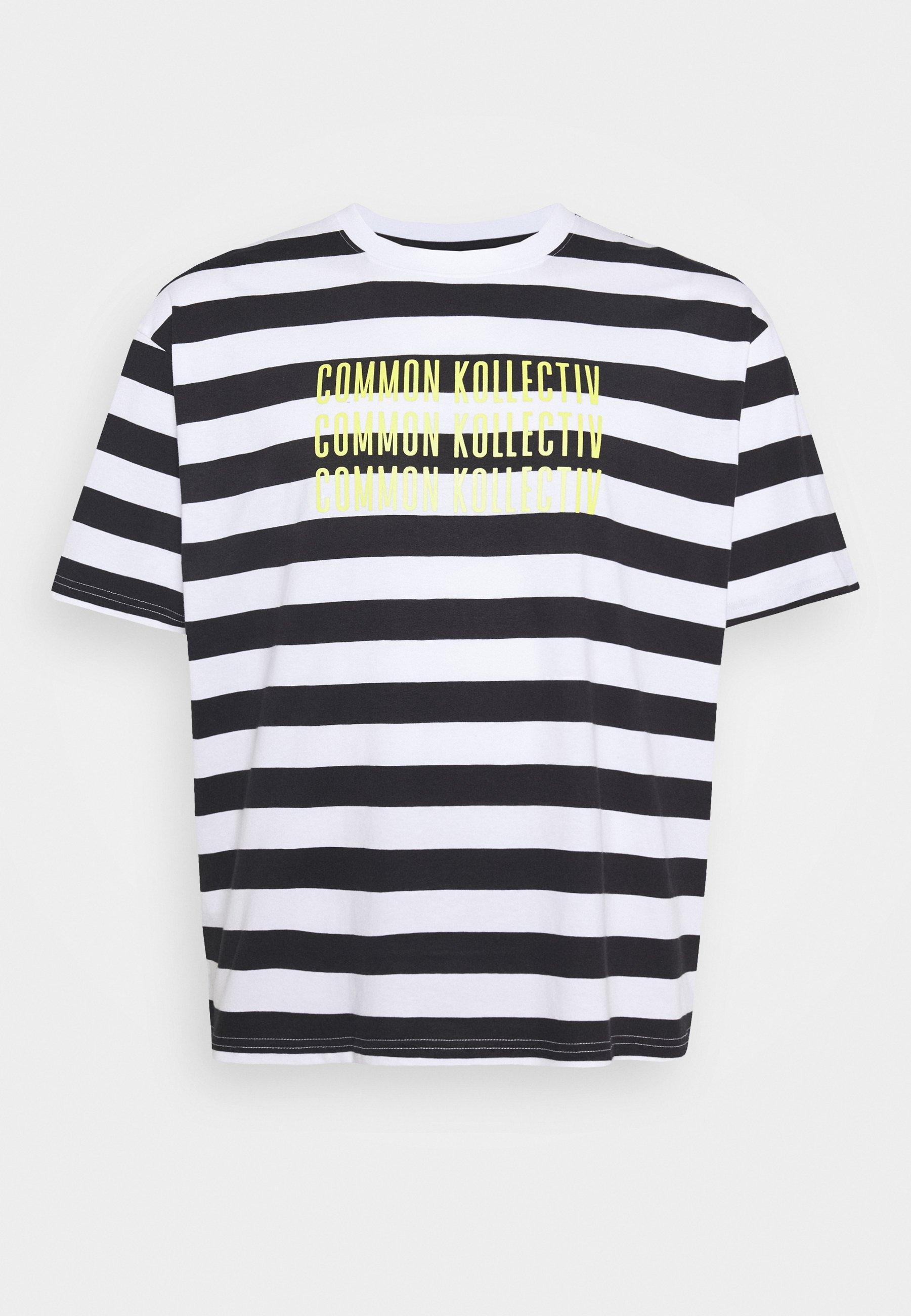 Common Kollectiv PLUS STRIPED - T-shirts med print - white