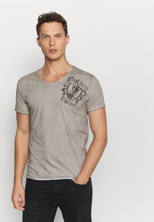 ROOTS NECK - Print T-shirt - silver