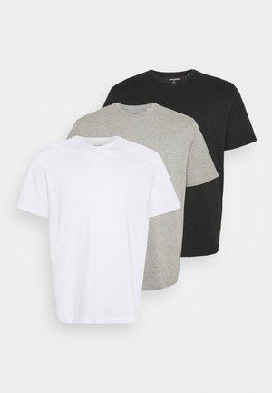 JORBASIC TEE  V-NECK 3 PACK - Basic T-shirt - white/light grey melange/black