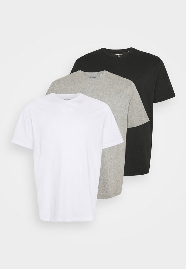 JORBASIC TEE  V-NECK 3 PACK - Jednoduché triko - white/light grey melange/black