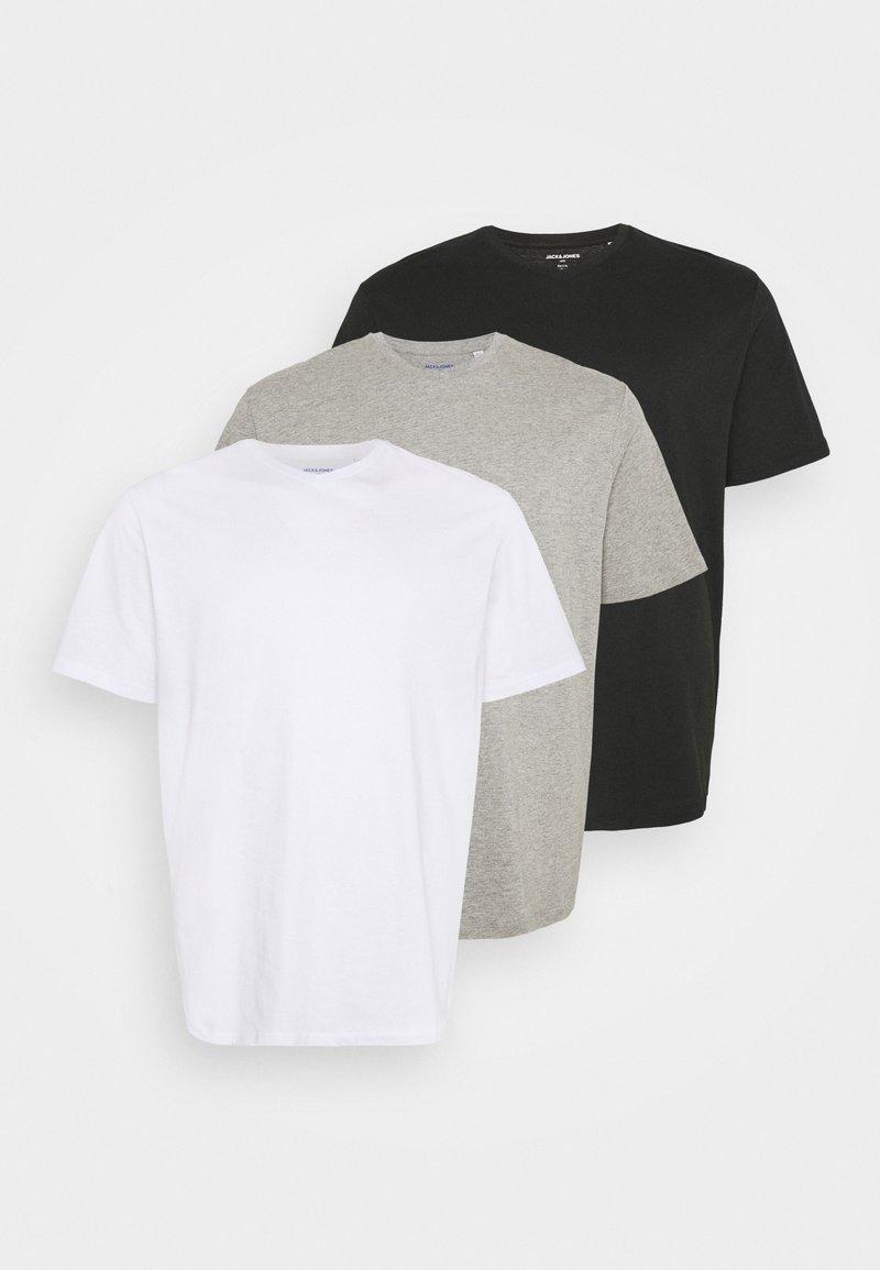 Jack & Jones - JORBASIC TEE  V-NECK 3 PACK - T-shirt - bas - white/light grey melange/black