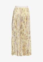 PLISSEE SKIRT WITH SNAKE PRINT - Maxi skirt - light lemon