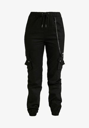 EMBROIDERED CHAIN - Trousers - black