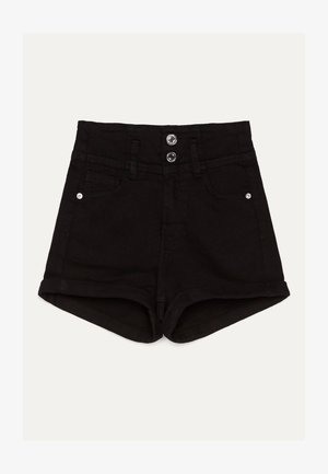 UND UMGESCHLAGENEM SAUM  - Szorty jeansowe - black