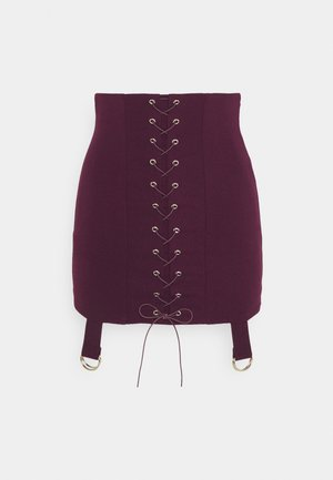 LACE UP STRAP DETAIL MINI SKIRT - Mini skirt - wine