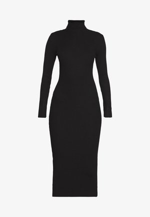 ROLL NECK MIDI DRESS - Strickkleid - black