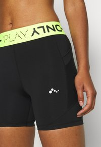 ONLY Play - ONPALIX SHAPE UP TRAINING SHORTS - Tights - black/safety yellow - 5