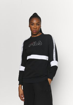 JACKI TAPED CREW - Felpa - black/bright white