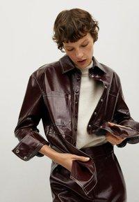 Mango - Leather skirt - donkerrood - 3