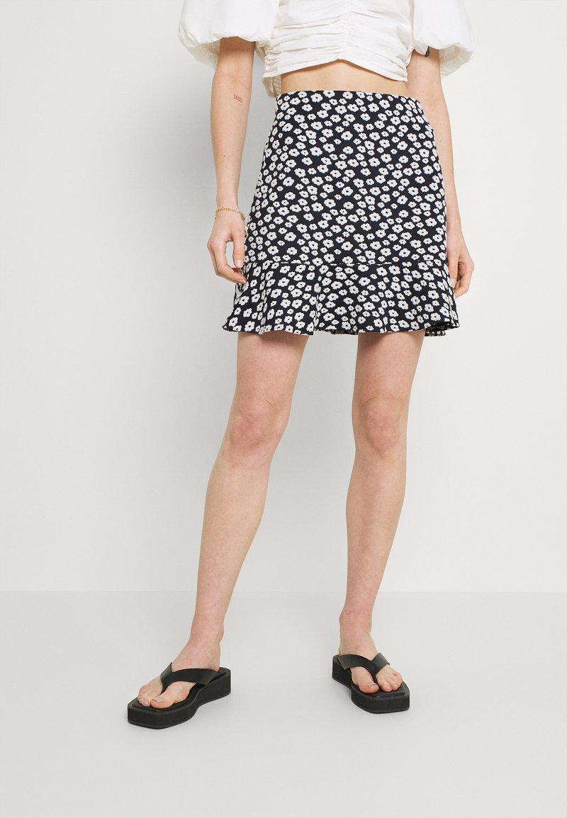 EDITED - AURORA SKIRT - Mini skirt - dark blue/white