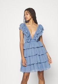 Lace & Beads - MINI - Cocktail dress / Party dress - blue - 0