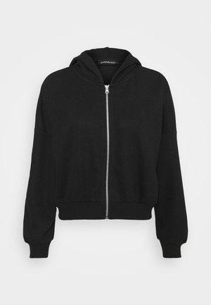 Ribbed zip though hooded sweat jacket - Zip-up hoodie - black