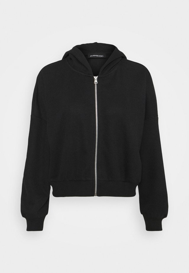Ribbed zip though hooded sweat jacket - Zip-up hoodie - black