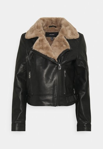 VMHAILEY SHORT JACKET - Faux leather jacket - black