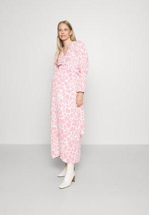 WRAP DRESS WITH TIE DETAIL - Maxi dress - pink/white