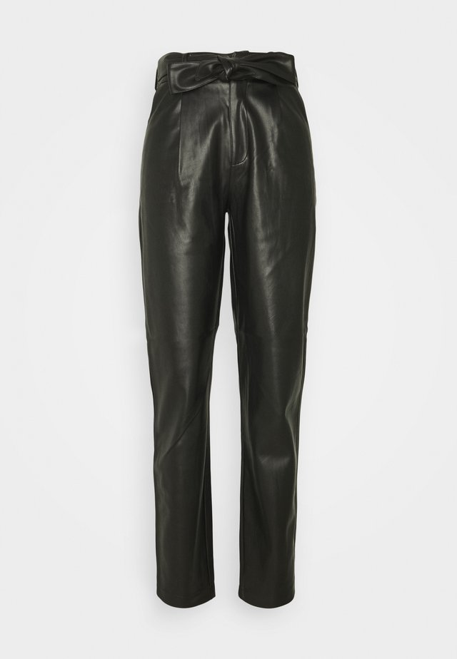 TALL BELTED TROUSER - Pantaloni - black